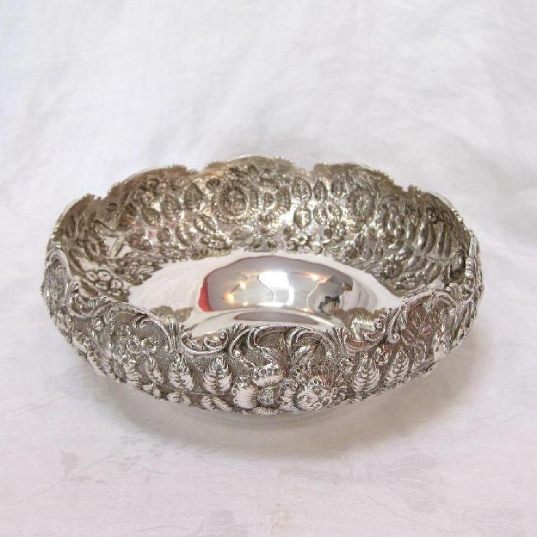 Antique Kirk & Son Sterling Silver Floral Repousse Bowl - 4