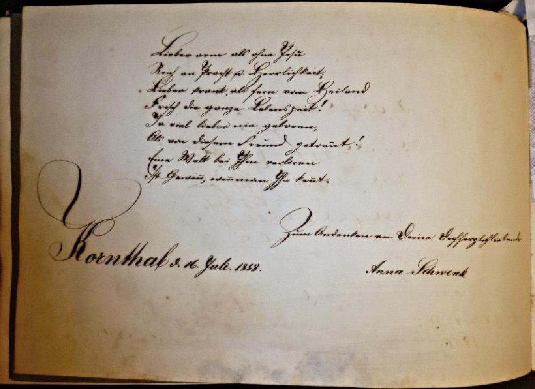 German Friendship Book - 1856-1860 Beautiful Penmanship - 10