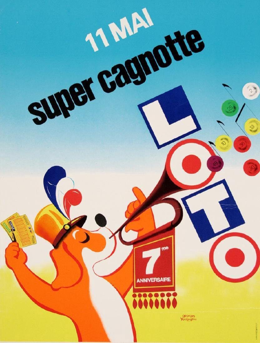 Original Vintage French Loterie Poster Loto 11 Mai
