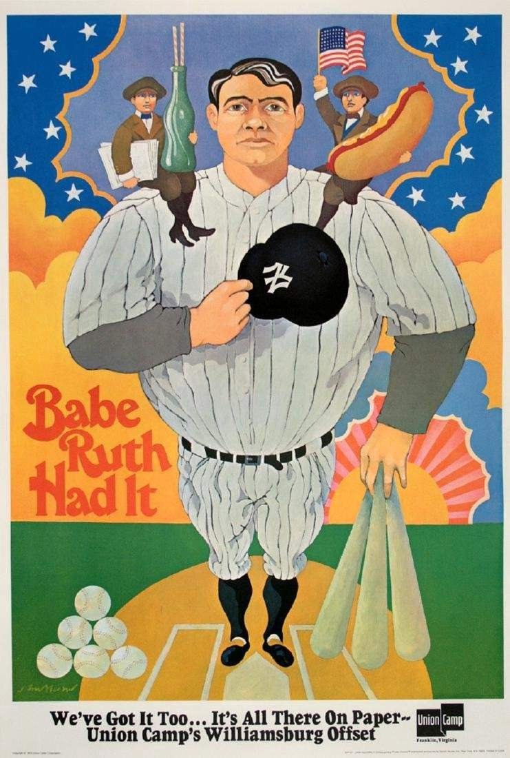 Babe Ruth Had it Original Vintage Poster Bruce Alcorn