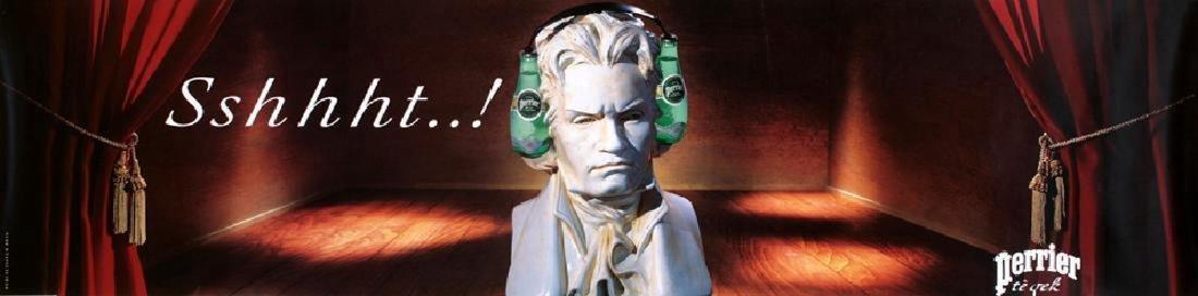 Original Vintage Perrier Poster Beethoven