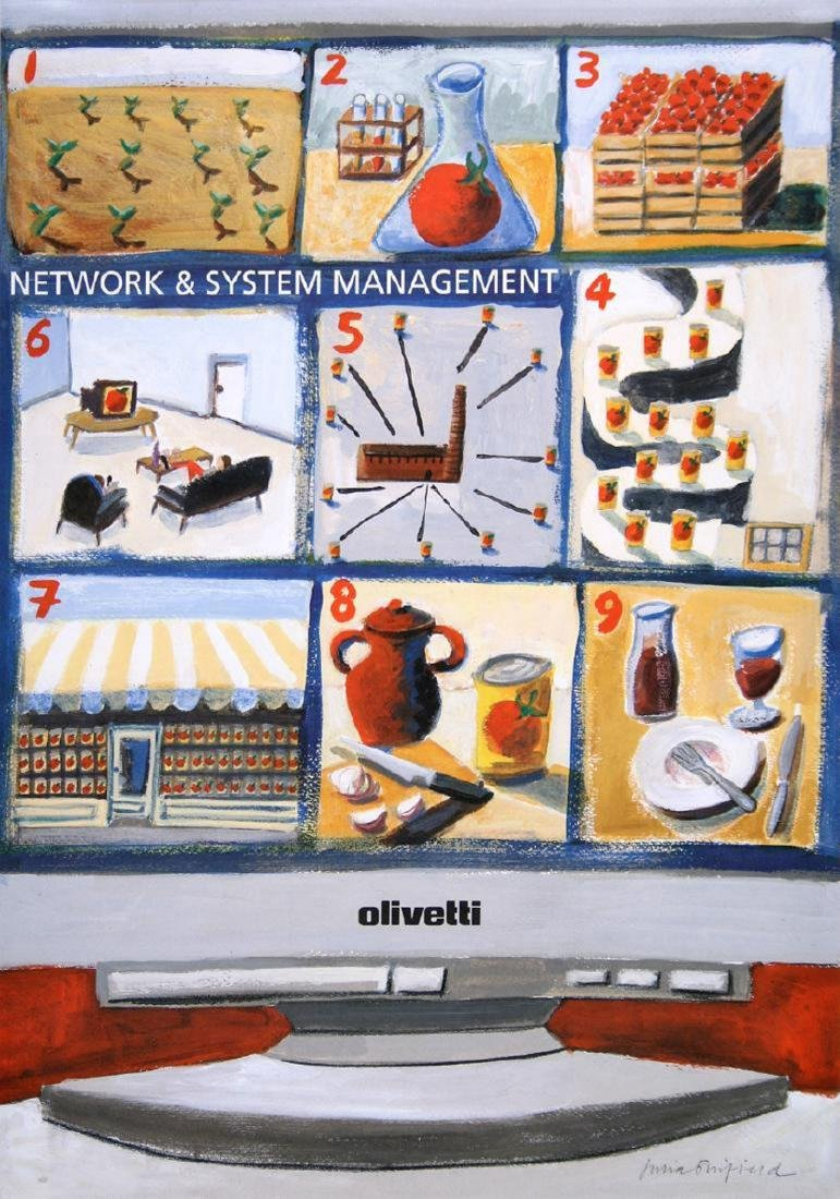 Original Vintage Olivetti Network Poster by Bimfield