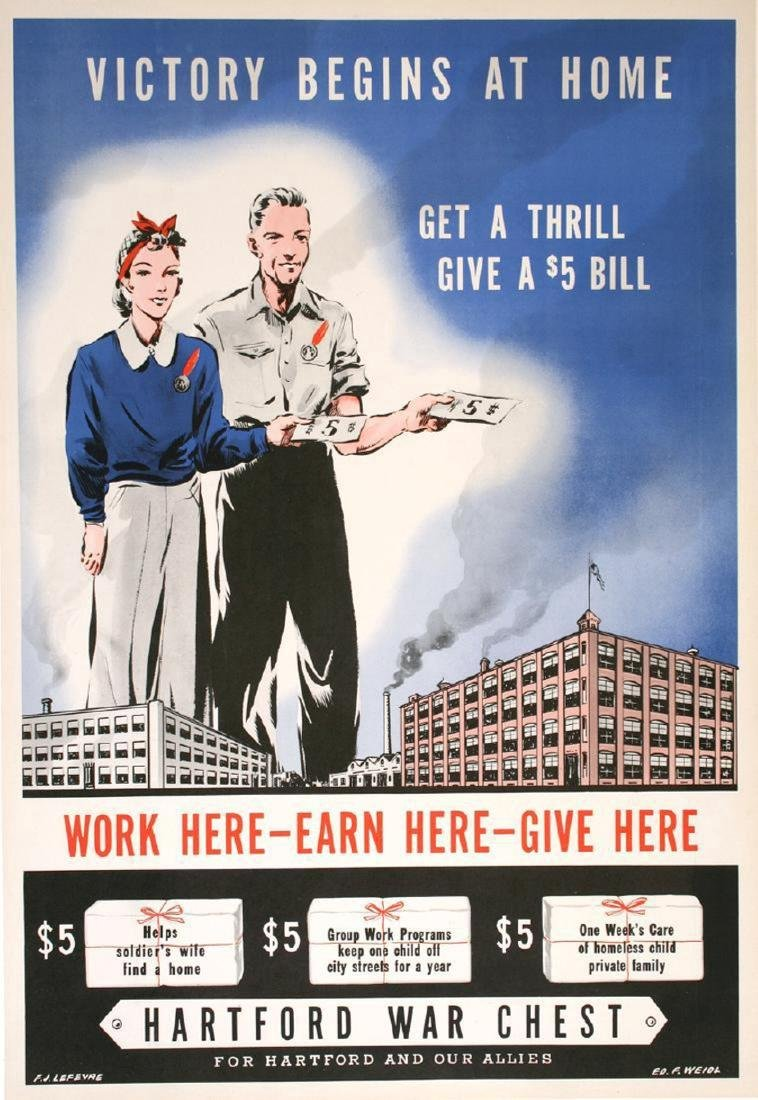 Original Vintage WWII Poster Victory Begins at Home