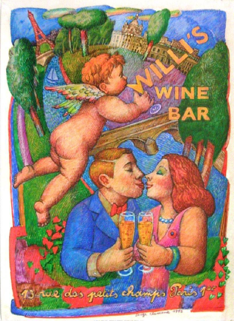 Original Vintage Willi's Wine Bar Poster 1995