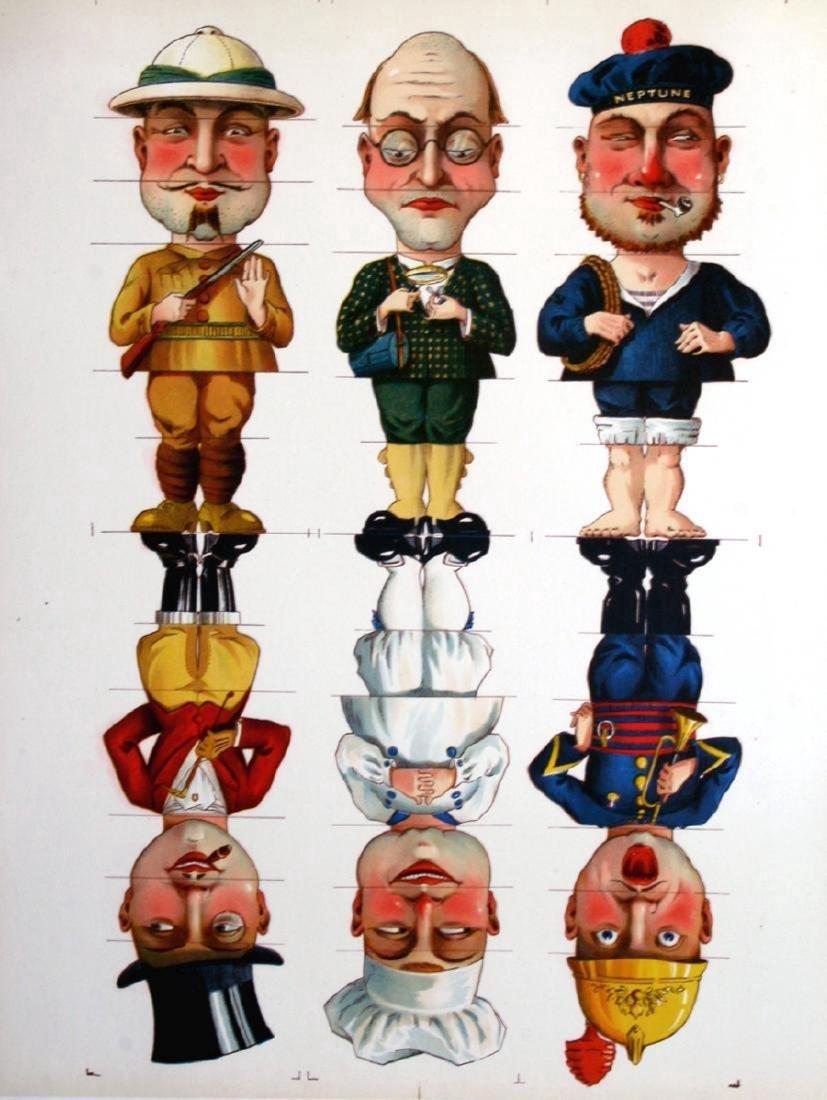 Six Men - Original Antique Board Game Illustration