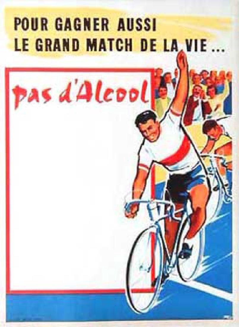 Original Vintage Cycling Poster Pas D'alcool