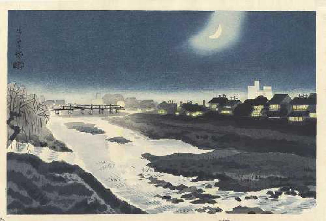 Eiichi Kotozuka Woodblock Kamo River at Night