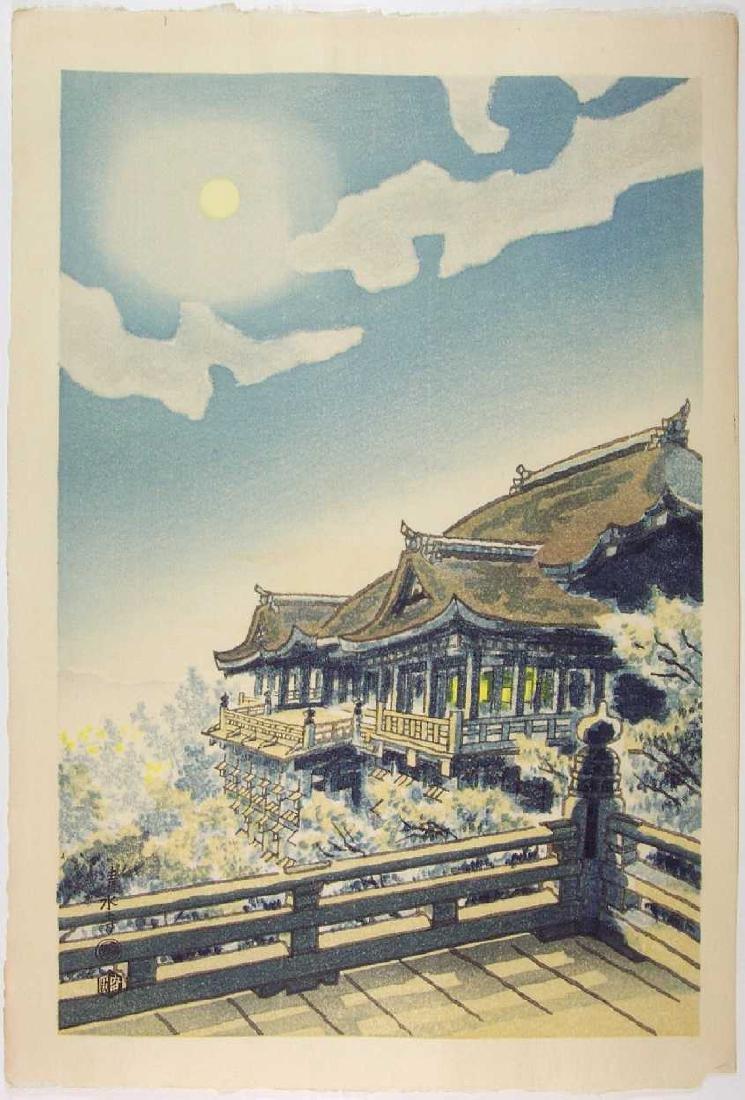 Eiichi Kotozuka Woodblock Moon at Kiyomizu Temple