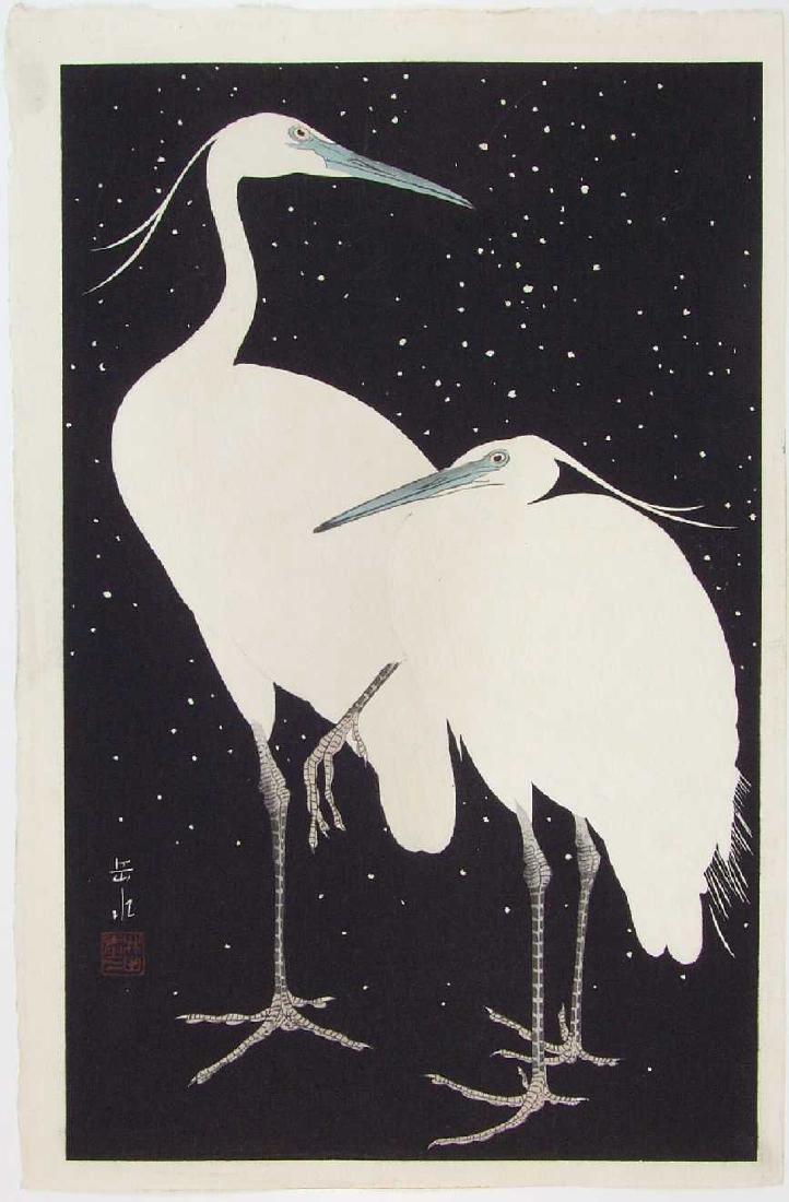 Gakusui Ide Woodblock Herons in the Snow