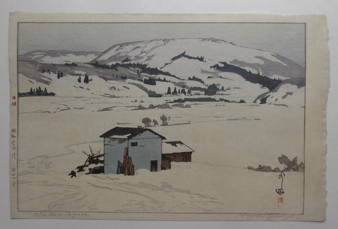 Hiroshi Yoshida Woodblock Winter in Taguchi