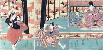 Hokushu Woodblock Actors Ichikawa Ebijuro I