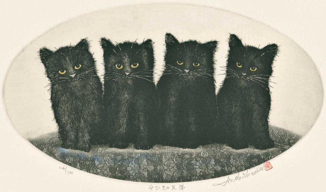 Norikane Hiroto First Edition Woodblock 4 Black Cats - 2