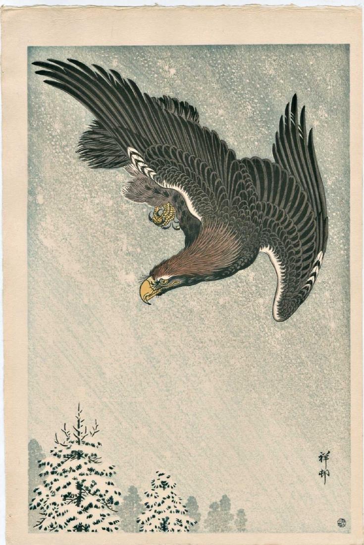 Ohara Koson Woodblock Eagle Flying in Snow