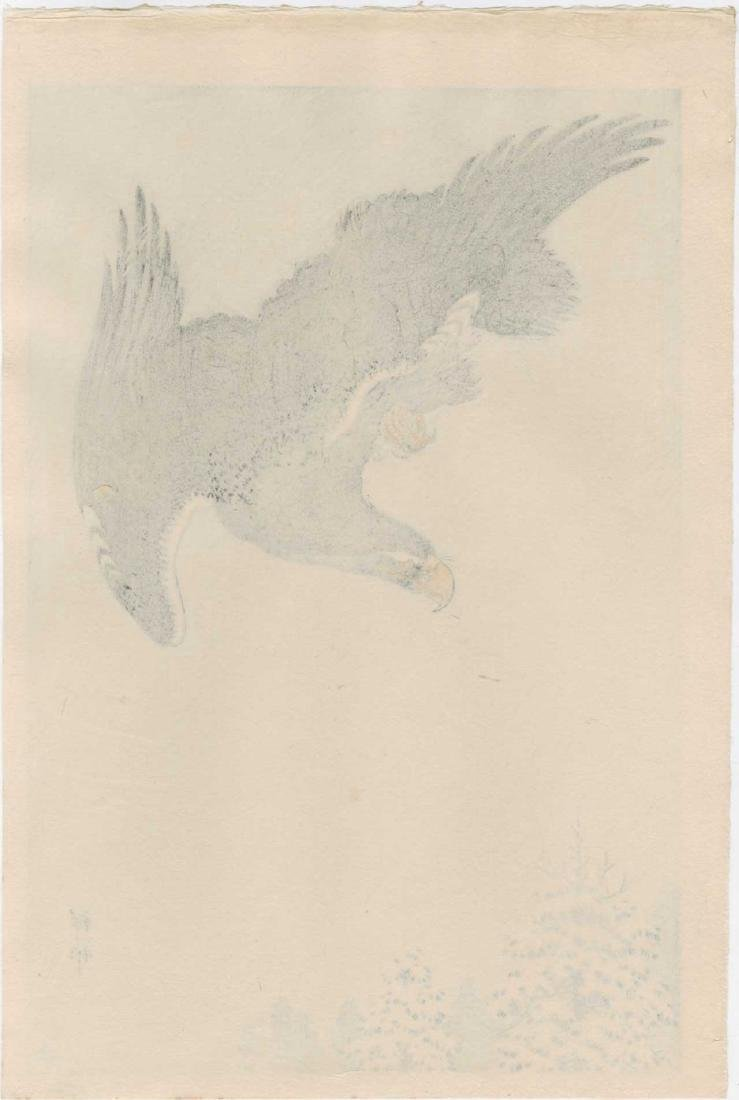Ohara Koson Woodblock Eagle Flying in Snow - 2