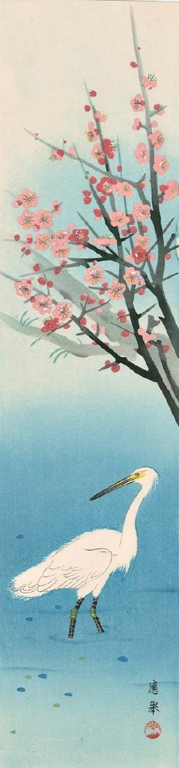 Okyo Maruyama Woodblock Egret Near a Plum Tree