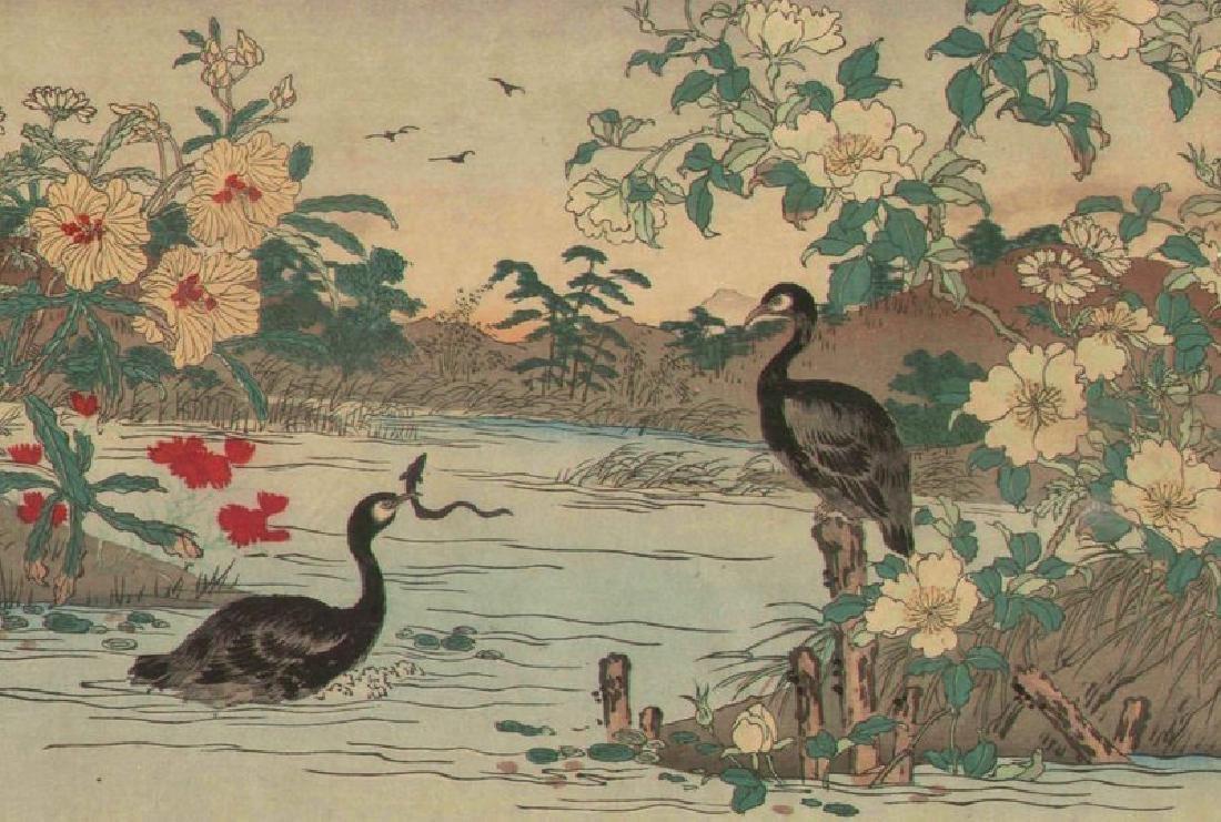 Rinsai Utsushi Woodblock Cormorants - 2