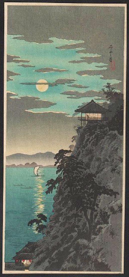 Takahashi Shotei Woodblock Moon at Ishiyama, Lake Biwa