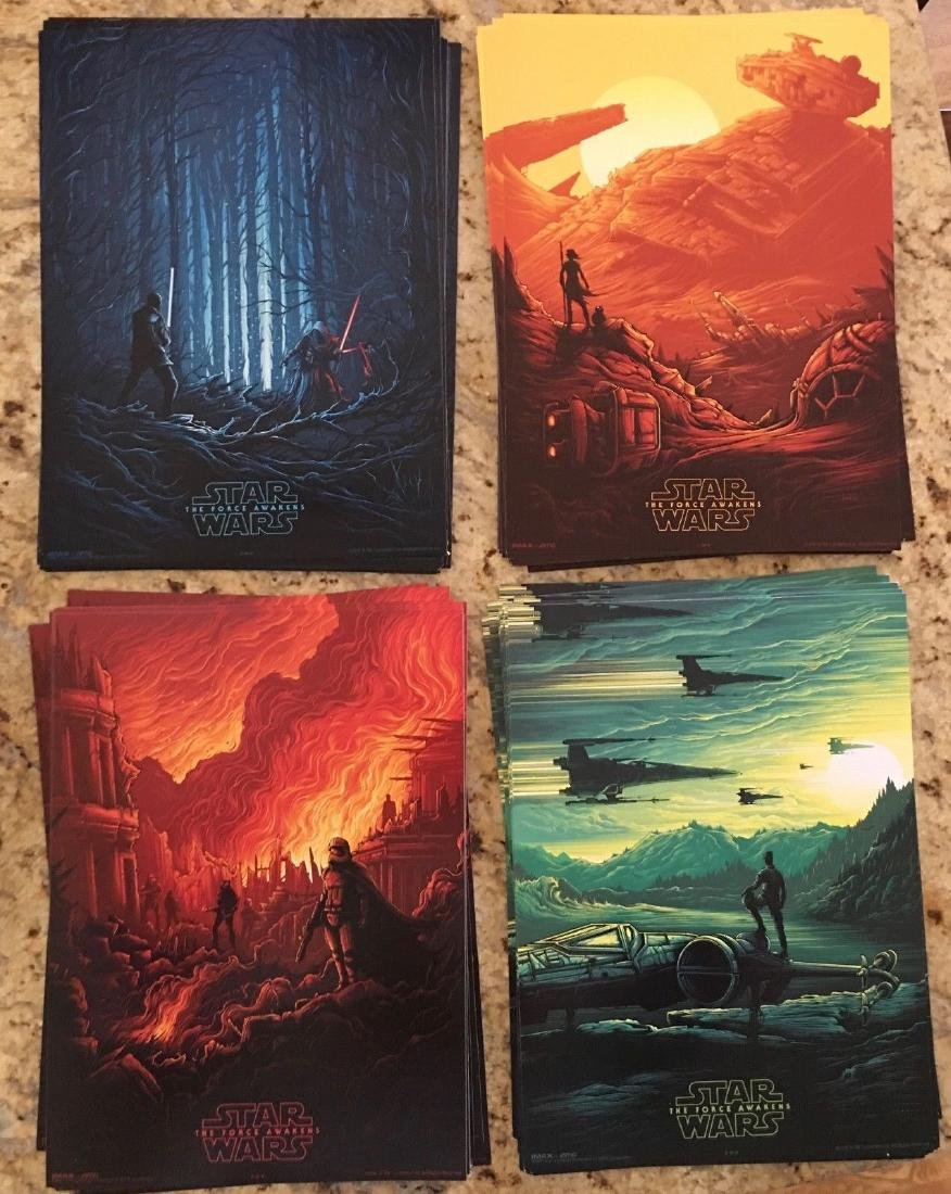 STAR WARS The Force Awakens Complete SET of 4 Posters