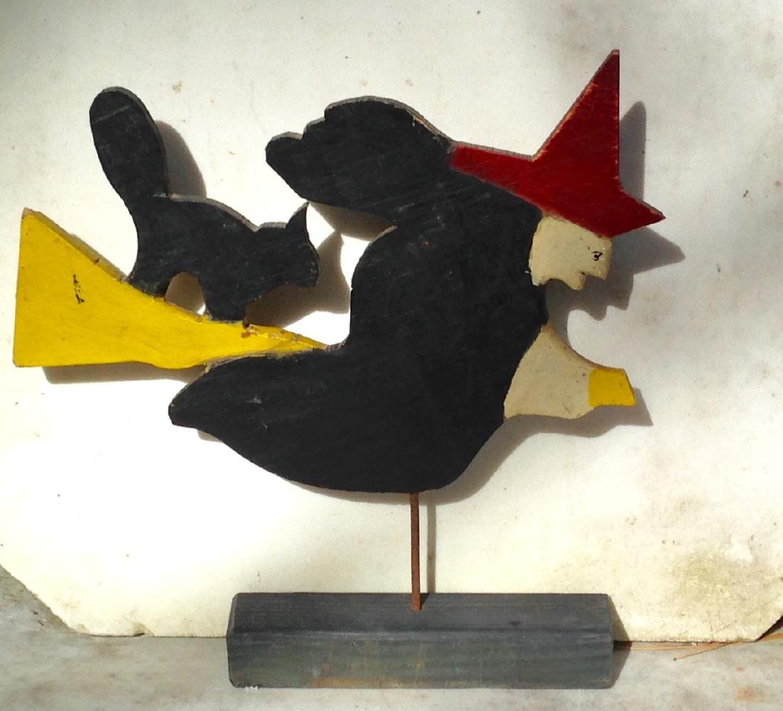 Early 20th Century Folk Art Wooden Witch & Her Cat