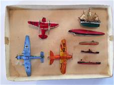 WWII Era Miniature Painted Wooden Airplanes Ships