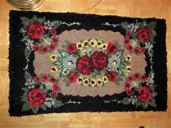 Folk Art Hooked Rug, Primitive Country Floral Rag Rug