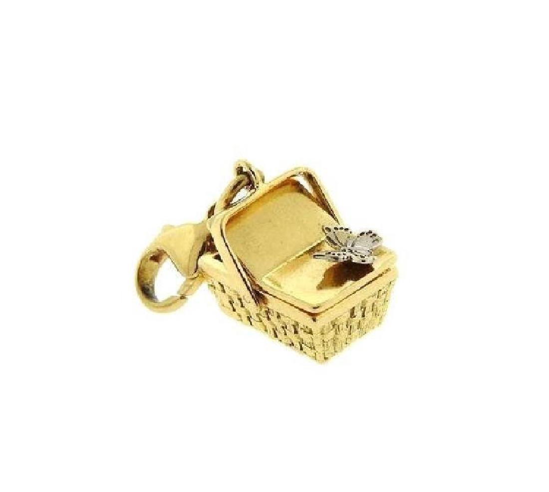 Tiffany & Co 18K Yellow Gold 3D Basket Butterfly Charm