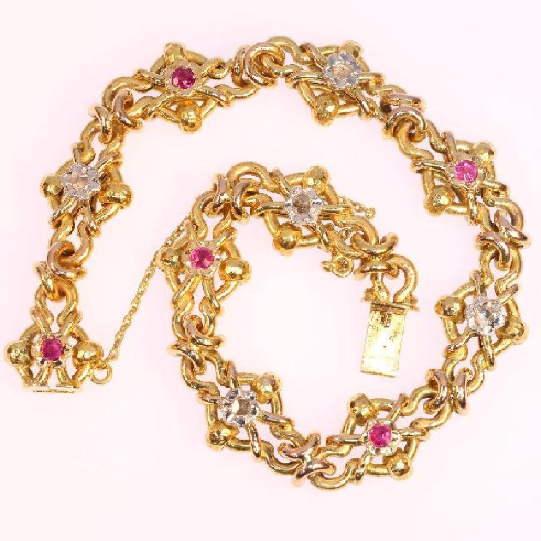 Antique Victorian 18K Yellow Gold Diamond Bracelet