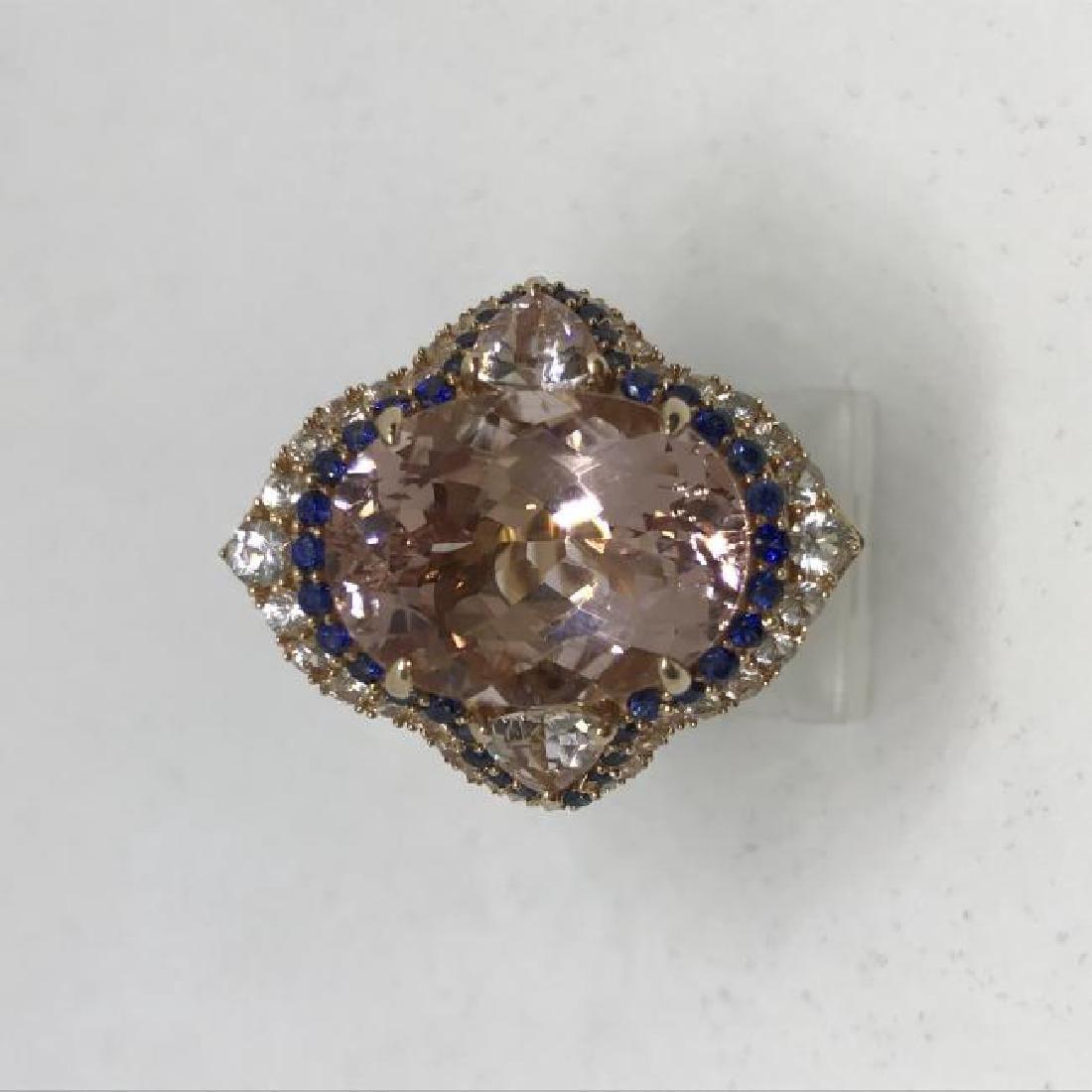14K Rose Gold Morganite Sapphire Ring, 8.74ct