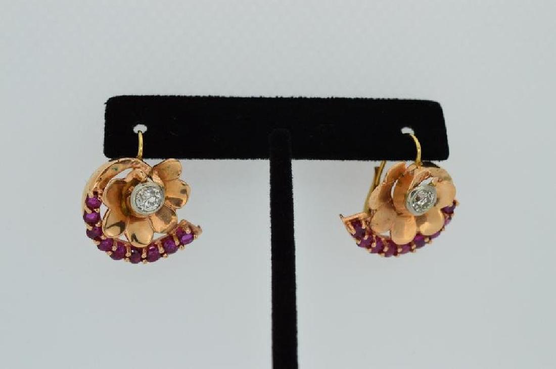 Antique 14k Yellow Gold Diamond Ruby Earrings, 2.08ctw