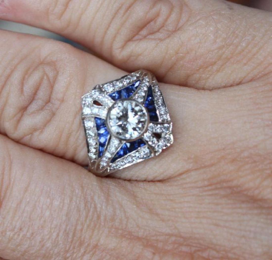 Art Deco 18K White Gold Sapphire Diamond Ring, 2ct