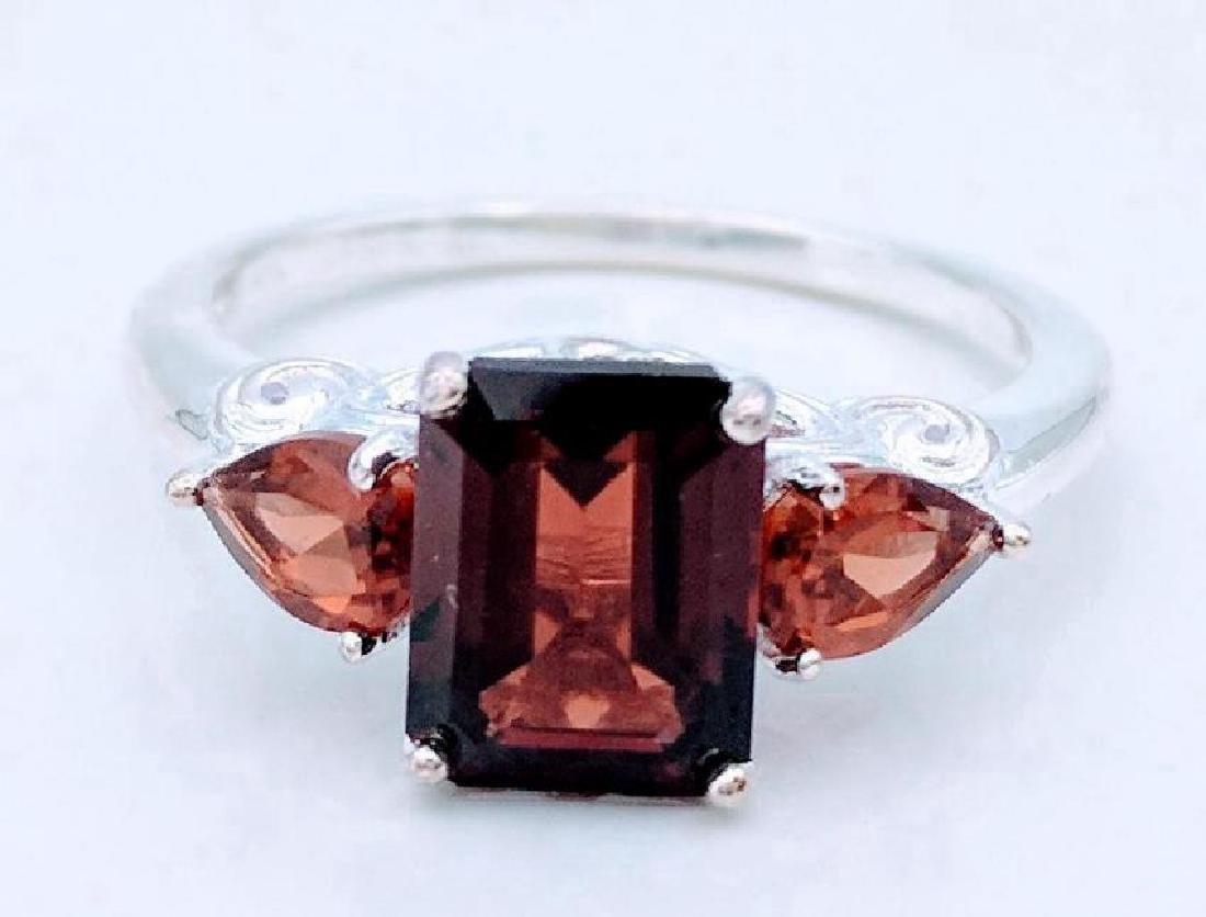 Sterling Silver Red Garnet Ring, 3ctw