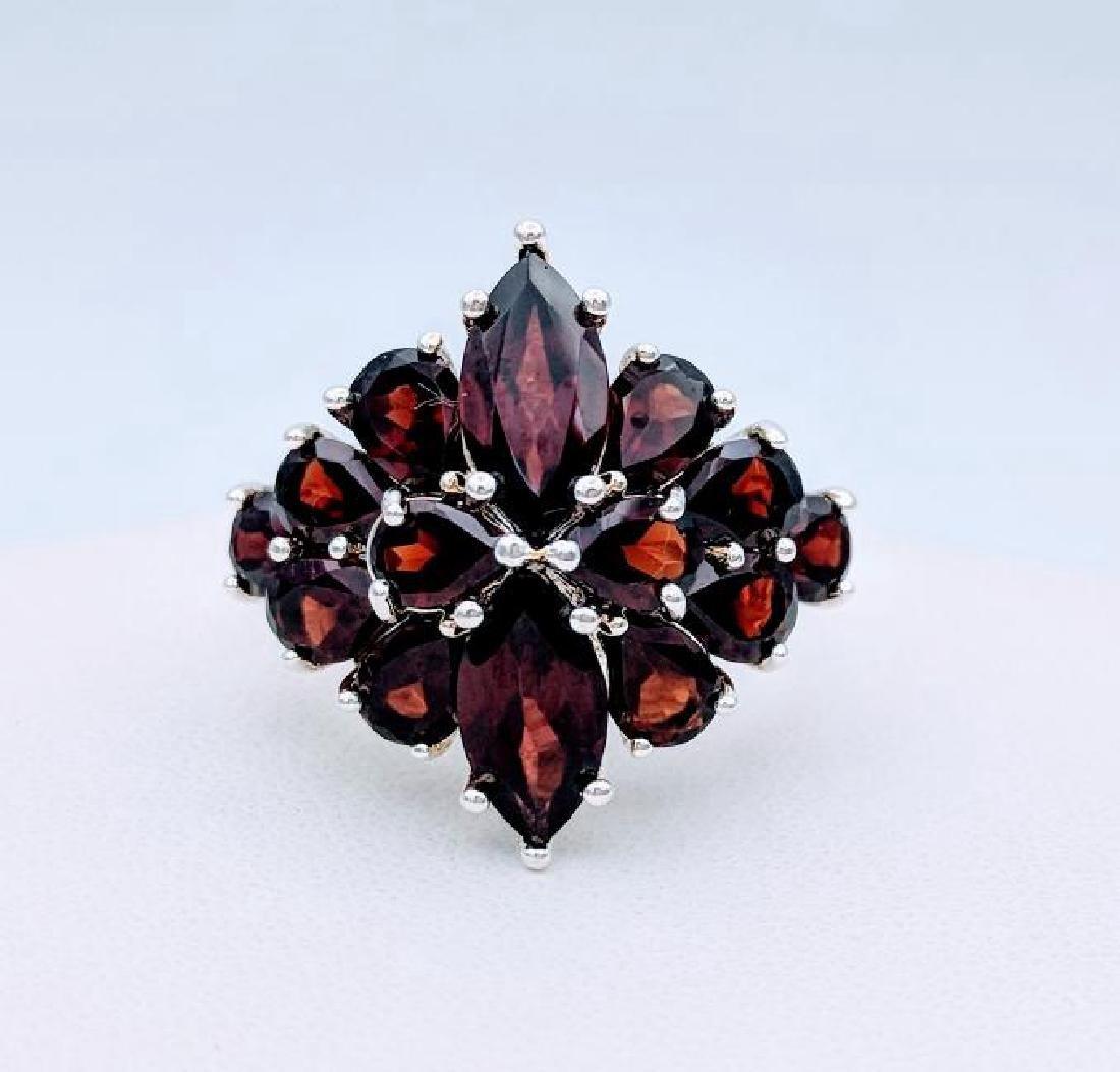 Sterling Silver Almandine Garnet Ring, 6ctw