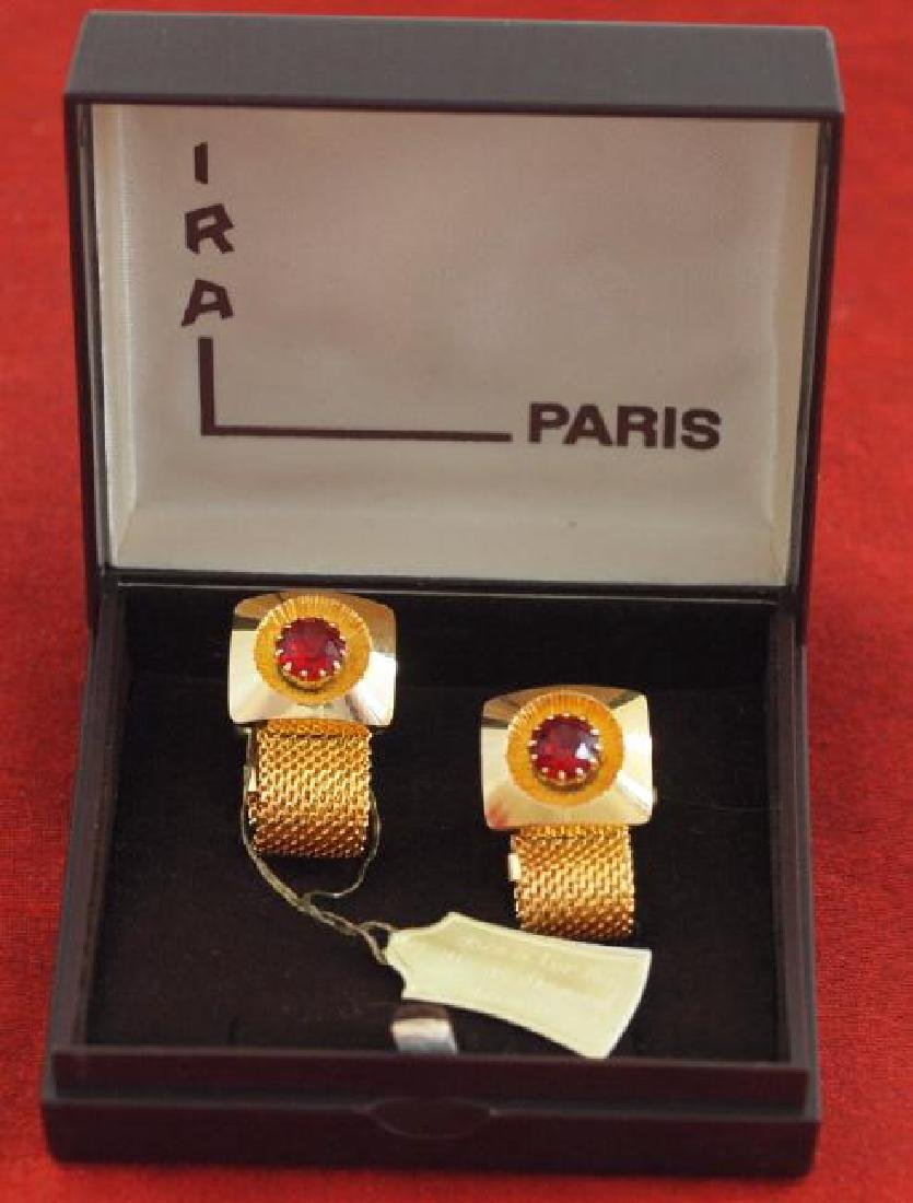 Vintage IRA Paris Gold Red Stone Cufflinks, 1920s