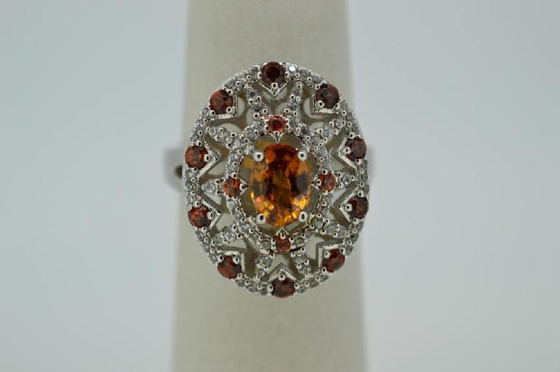 Ladies Sterling Silver Citrine Stone Ring