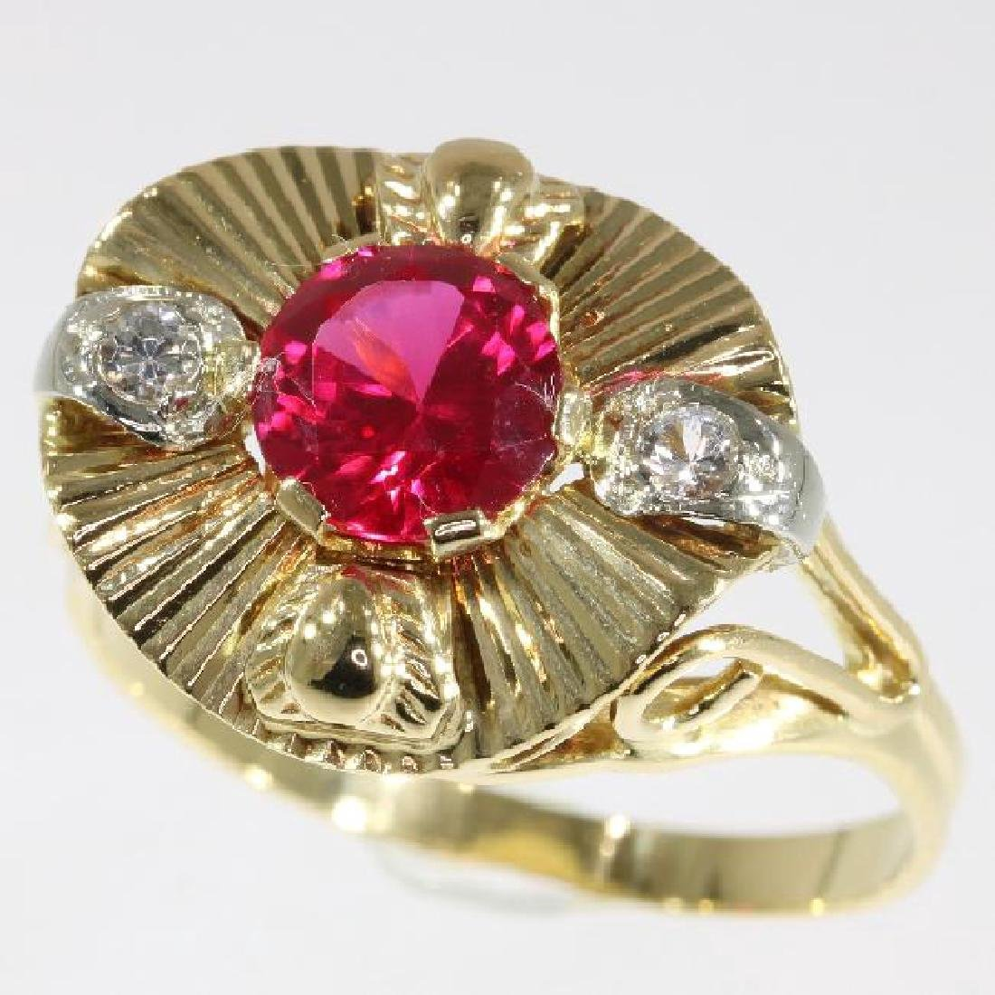 Mid-Century 18K Yellow Gold Ruby Cocktail Ring, 1.5ct