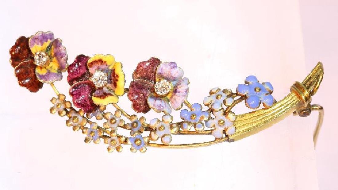 Antique Victorian 14K Gold Enamel Diamond Brooch