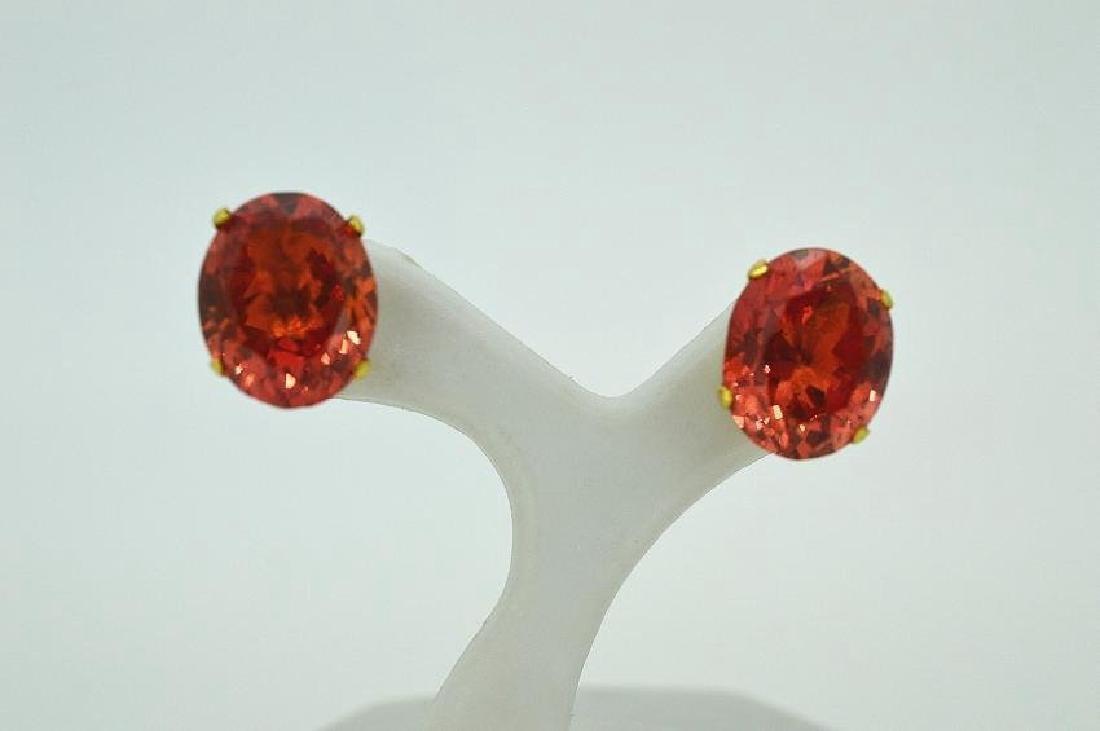 Rare Antique 14k Yellow Gold Fire Opal Earrings, 6ctw