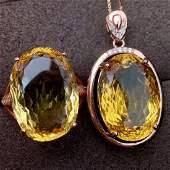 Sterling Silver Citrine Zircon Jewelry Set, 8.5ct