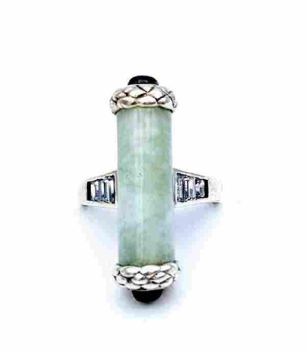 Sterling Silver Jade Garnet CZ Ring, .48ctw