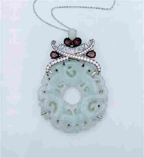 Sterling Silver Jade Garnet CZ Imperial Design Necklace
