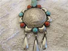 Sterling Silver Mojave Turquoise Coral Coin Pendant