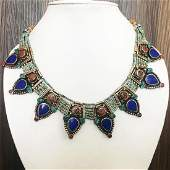 Tibetan Silver Turquoise Coral Lapis Bib Necklace