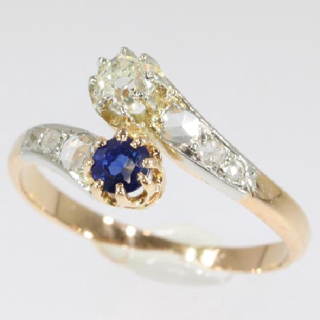 Antique 18K Gold Sapphire Diamond Toi et Moi Ring