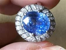 Antique Art Deco 14K Gold Sapphire Diamond Ring, 8.46ct