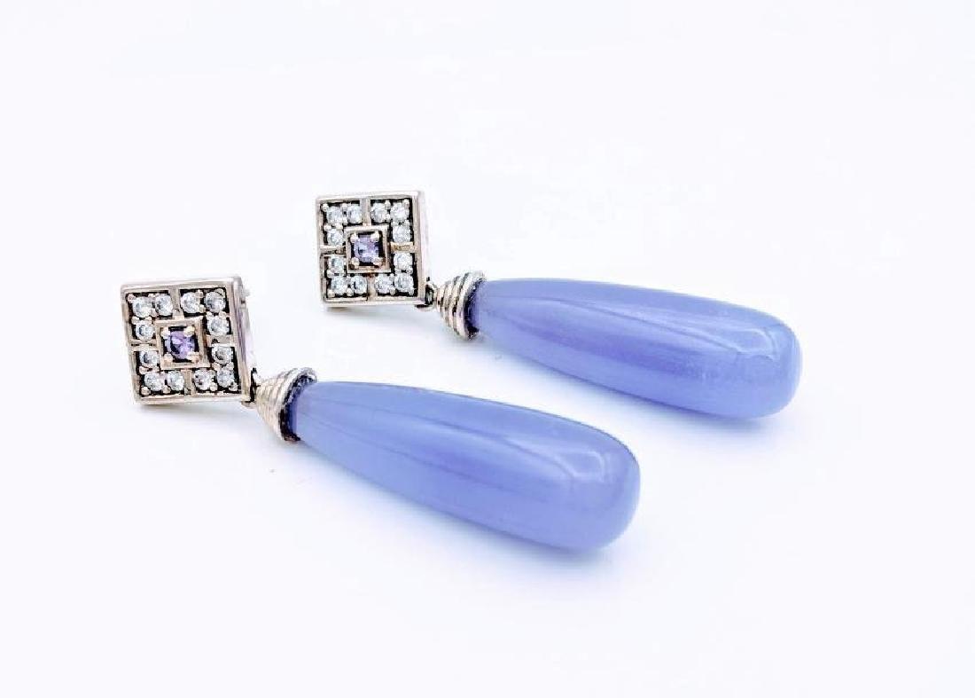 Sterling Silver Violet Jade Amethyst CZ Earrings .24ctw