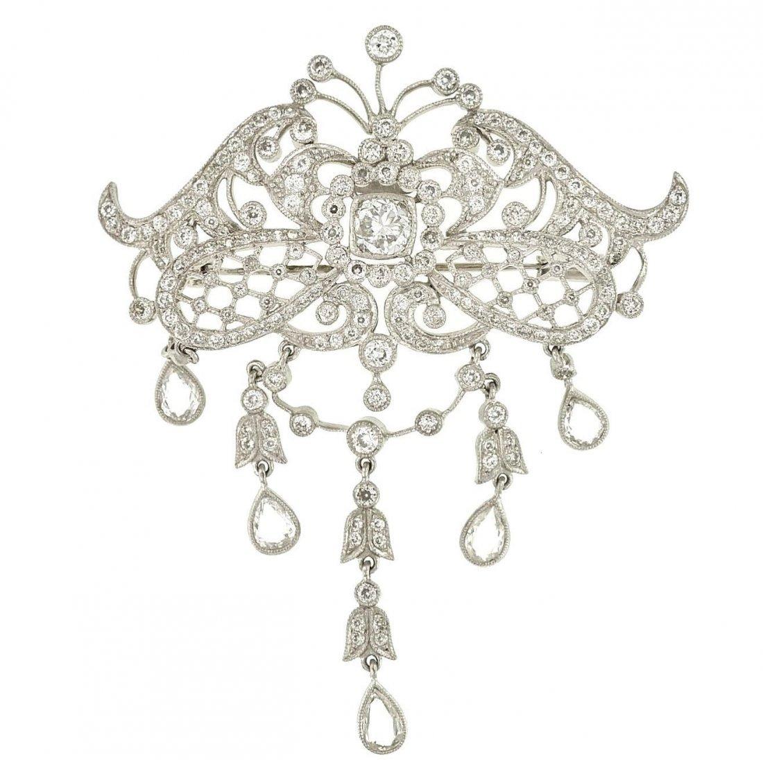 Sophia D Platinum Old European Diamond Brooch, 6.34ctw