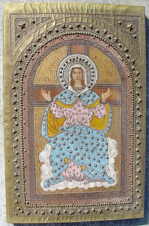Antique Greek Byzantine Style Icon of Mother of God