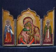 Antique Russian Traveling Triptych Icon, 19th C