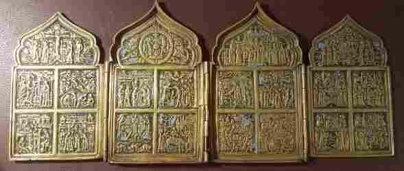 Antique Russian Bronze Enamel Quadriptych Icon, 19th C