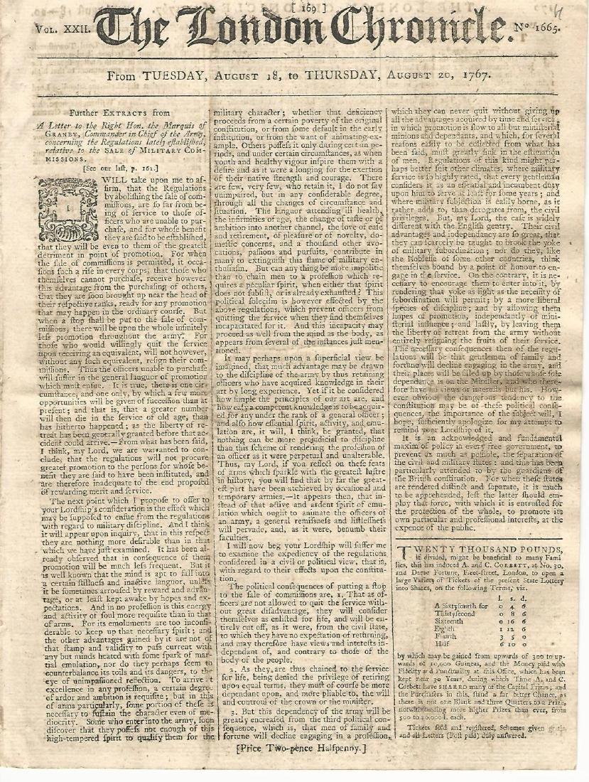 London Chronicle August 18-20, 1767 Ax Murder New York